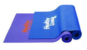 Yoga Mat - Navy.  Durable mat has a textured non-slip surface on each side and rolls up for easy storage • Bag features adjustable strap, top drawstring closure, full length mesh vent and bottle pocket