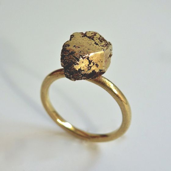 Brass 'gold nugget' inspired ring by ntm. jewellery