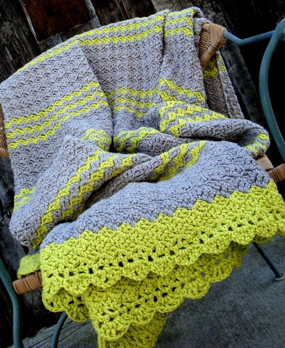 Afghan Blanket Crochet Gray and Lime Green // Now THIS is a modern color combination.