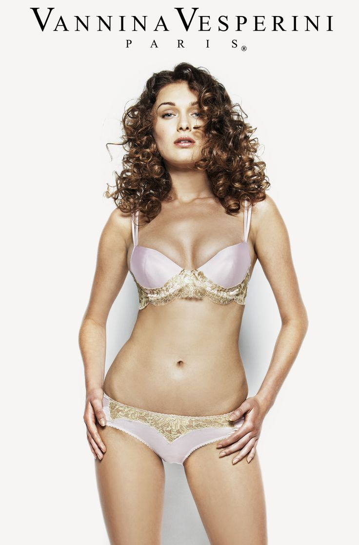 Vannina Vesperini S/S 15 Collection. Splendide theme. Silk Padded balcony bra & panty with inlayed French Chantilly Leavers lace in Princess-Gold color