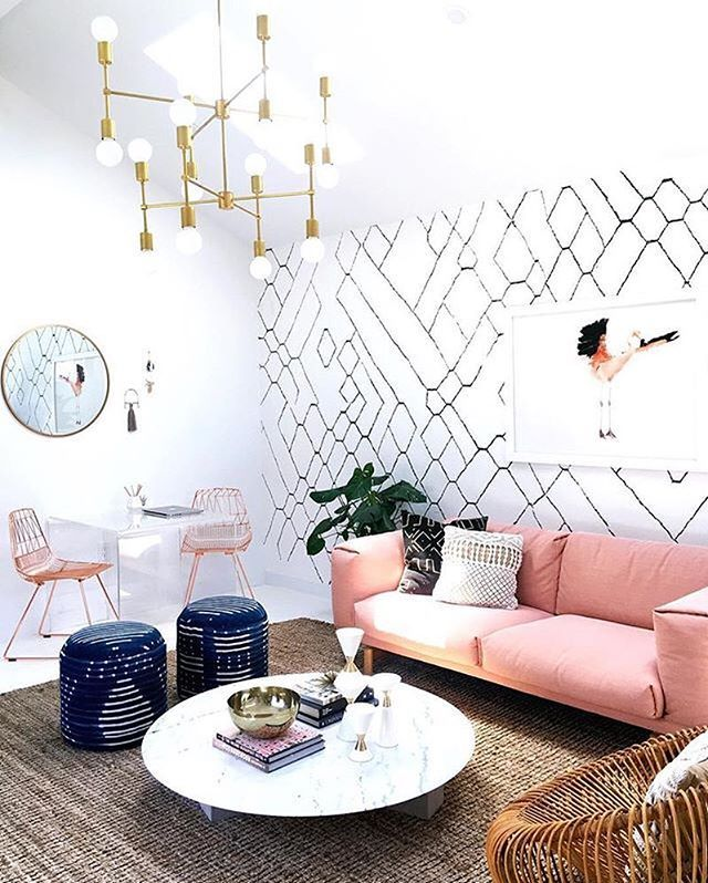 Wallpaper #workspacegoals + regram from @sarahshermansamuel's studio ⚡⚡✨ Starting July with a pop of pink from Sarah's LA studio. Sarah has been sharing workspace updates on her blog + her space is now complete! The final touch? That beautiful wallpaper...that she designed herself!!! Thanks Sarah for the design ideas + Caroline for inspiring us with the beautiful shot