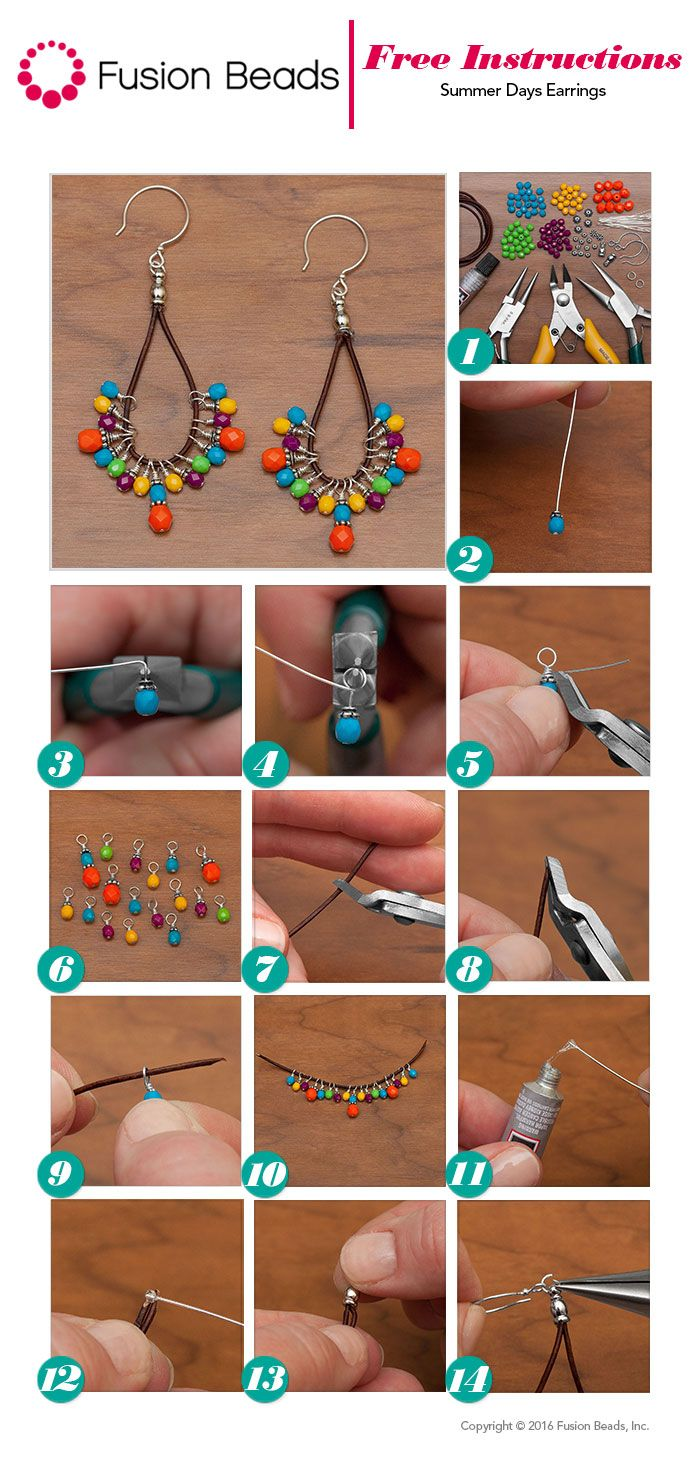 Use the super colorful Happy Fire Polished beads to make a trendy pair of DIY leather cord earrings just in time for summer!