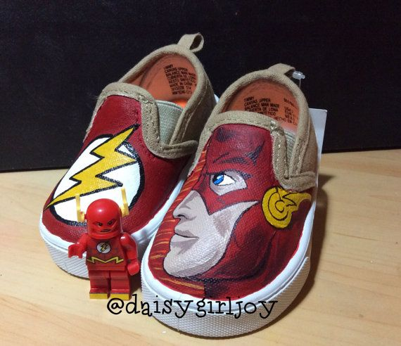 Custom hand painted The Flash DC Comics Toddler by DaisyGirlJoy, $50.00