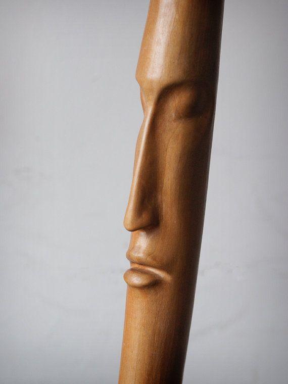 Head III ooak hand carved wood statue modern wood by elaarte