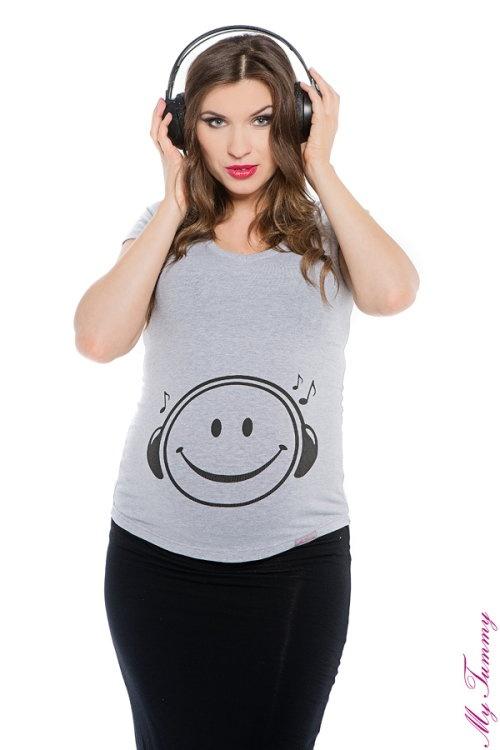 T-shirt ciążowy Buźka szary