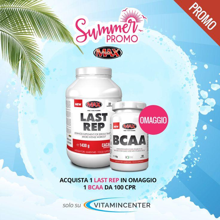 #SUMMER promo MAXNUTRITION: >> Acquista 1 LAST REP 1.4 Kg (tutti i gusti), in OMAGGIO 1 BCAA da 100 cpr! COMPRA ORA su #VitaminCenter!