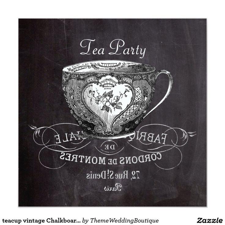 zazzle wedding invitations promo code%0A teacup vintage Chalkboard bridal shower tea party