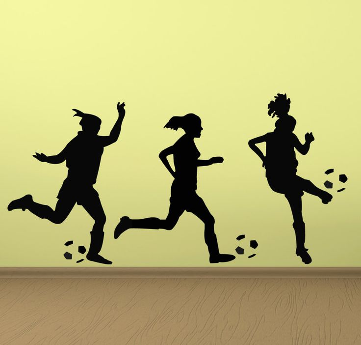 soccer wall decal three girl soccer players vinyl wall decal sticker