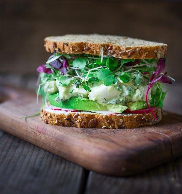 eiersalade sandwich, voor bij soep
