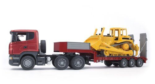 Bruder Scania R-Series Low Loader With Caterpillar Bulldozer