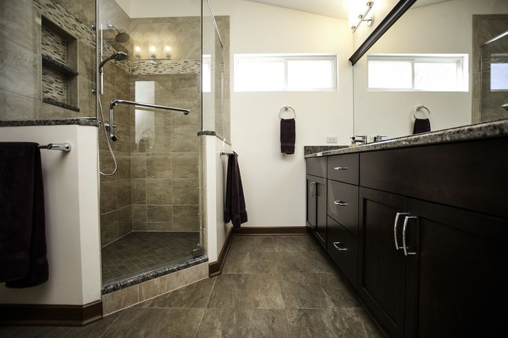 Bolingbrook Transitional Master Bath:  Cherry cabinetry in French Press finish.  Neo angle shower stall.  Homeowner removed tub in favor of large shower.