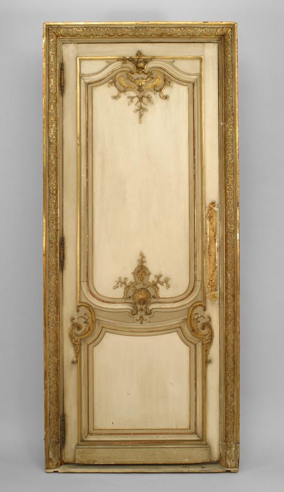 French Louis XV architectural element doors painted///reverse pic fir right side psnel