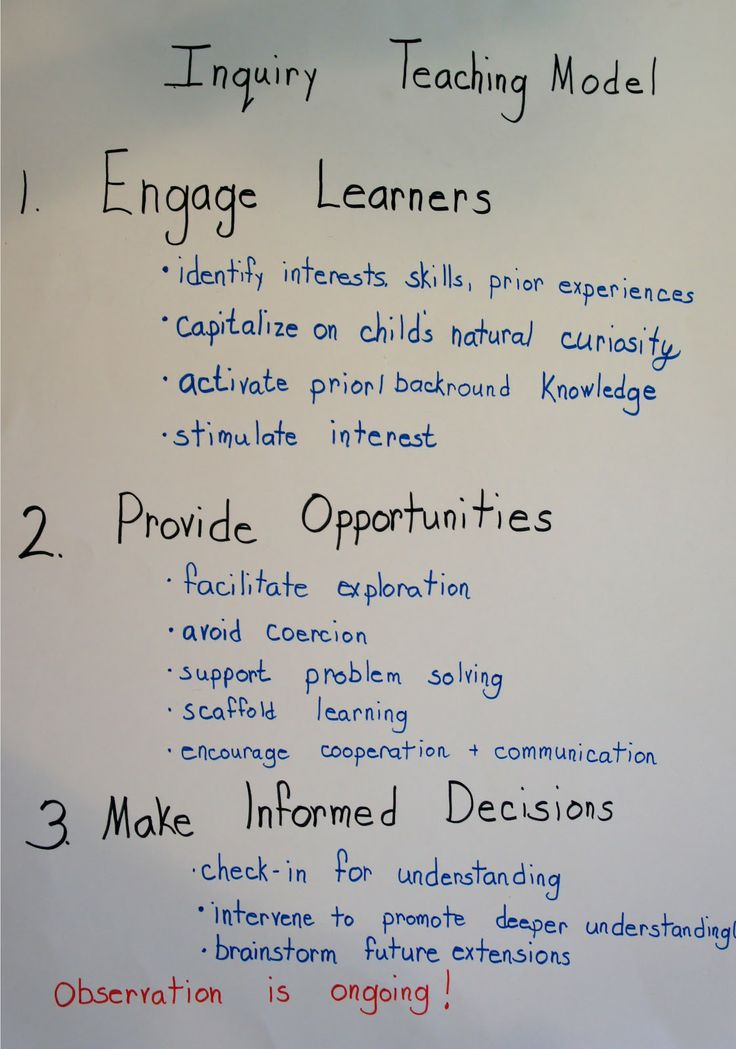 Inquiry Teaching Model in 3 steps. Finally someone makes it simple to see! Write this on a poster or paper for myself to refer back to when planning an inquiry based lesson!