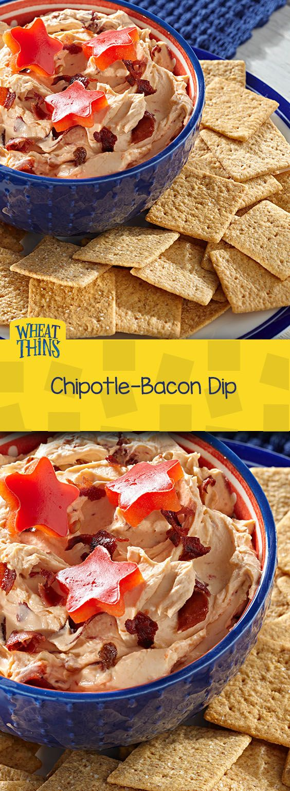 What's more American than bacon? We love this quick and easy recipe for Chipotle-Bacon Dip. Bursting with the rich flavors of chipotle pepper, adobo sauce, and of course, crispy turkey bacon, this cheesy dip is best served with a side of WHEAT THINS Original Snacks.