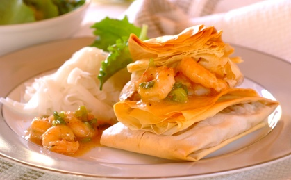 Sweet Chilli Prawn Parcels made with phyllo pastry