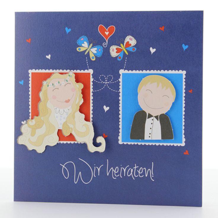 Lustige Hochzeitskarten - Brautpaarapplikation individuell anpassbar - eine fröhliche Hochzeitseinladung ...