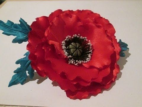 Красивый мак, цветок из ткани своими руками / fabric flowers with his ow...