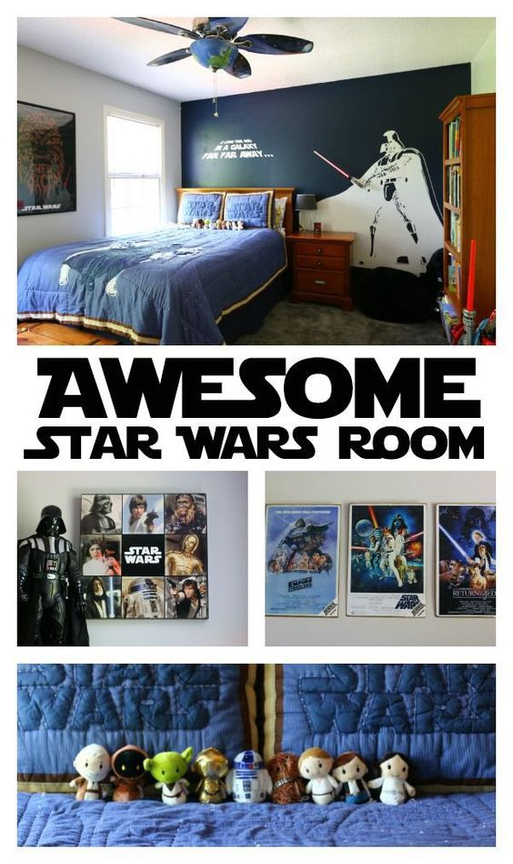this star wars bedroom features star wars bedding star wars wall decorations star wars art light sabers a death star speaker and more