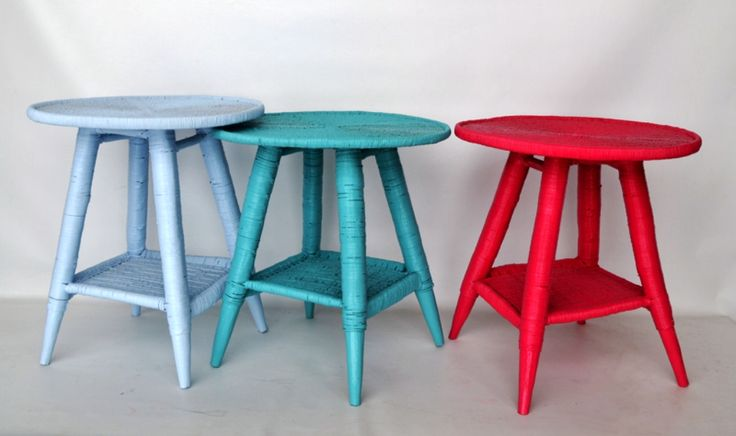 Custom tables in birds-egg, turquoise and fuschia