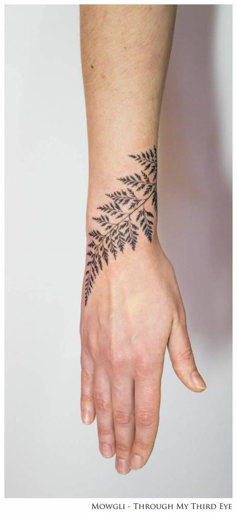 Fern leaf tattoo on the right wrist, titled 'Horticulture Fluidity'. Tattoo artist: Mowgli