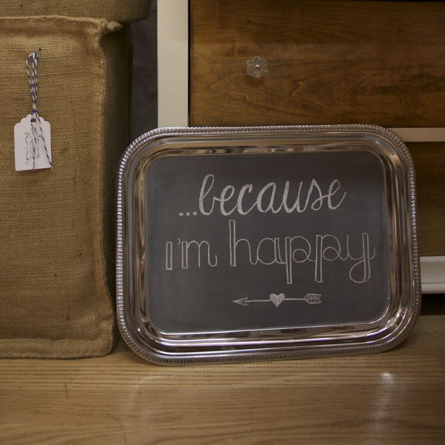 Silver Serving Tray Chalkboard