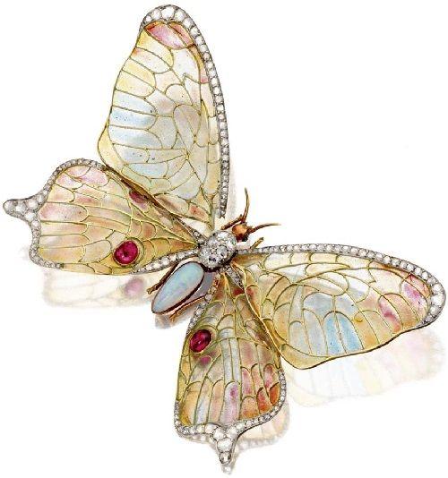 Butterfly Lalique C1905 - Art Nouveau Jewellery made in vitreous enamelling technique Plique-a-jour.