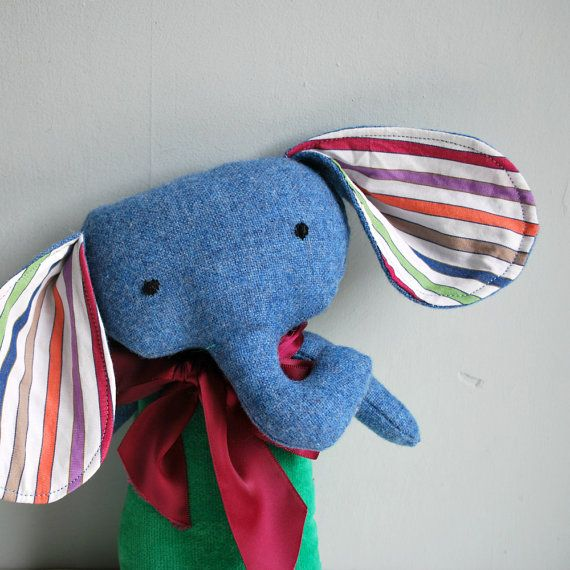 Velveteen and Tweed Elephant Plushie