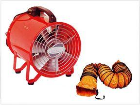 Portable ventilator adalah salah satu variasi dari jenis axial. Dan dirancang untuk mendapatkan aliran udara dan tekanan statik yang tinggi. Bahan yang digunakan untuk motor dan bladenya adalah allumunium, jadi berat unit keseluruhan menjadi lebih ringan, sehingga dapat dengan mudah dipindahkan dari satu tempat ke tempat lainnya