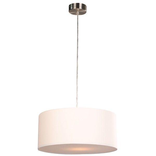 Beacon Lighting - Mara II medium drum 1 light pendant in white and brushed chrome