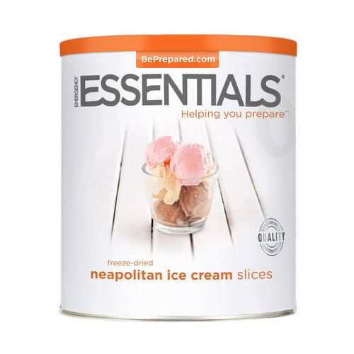 Our Emergency Essentials Freeze-Dried Neapolitan Ice Cream Slices are a delicious combination of chocolate, vanilla, and strawberry flavors, processed and packaged for long-term storage. A wonderful comfort food for your emergency food storage supply. 16 individual slices. Makes a great dessert or snack.