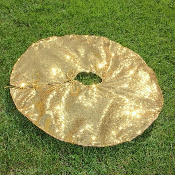 Gold Tree Skirt Sequin Tree Skirt Sparkle Christmas Tree Skirt Holiday Tree Skirt Gold Tree Skirt Xmas Tree Skirts Holiday Tree