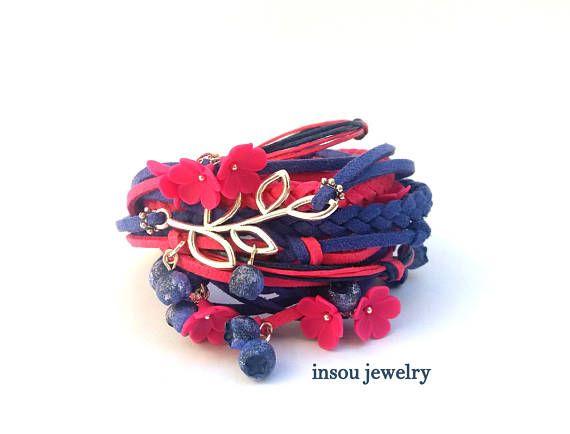 Berry Bracelet Wrap Bracelet Hot Pink Jewelry Boho Bracelet