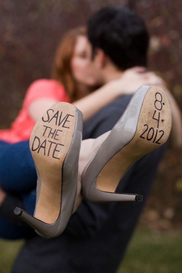 save the date on high heels