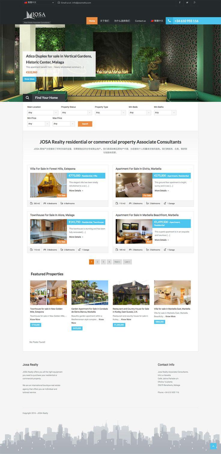 Marbella Real Estate Wordpress web designers. Josa Realty, Marbella Real Estate  Professionals, Property Listing website using WordPress Designed and Produced by Disenoideas Marbella web designers