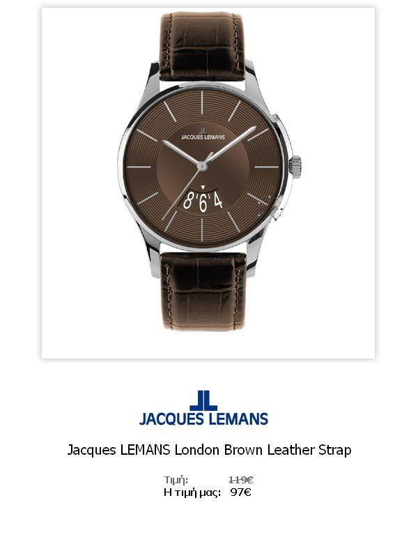 Jacques LEMANS London Brown Leather Strap  1-1746D  Όλες οι λεπτομέρειεςτου ρολογιού εδώ   http://www.oroloi.gr/product_info.php?products_id=31788