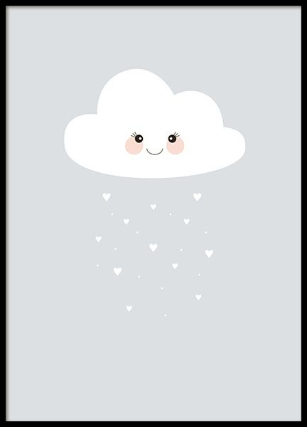 A cute children's poster with an illustration of a cloud raining hearts. Adorable to put in the kids room, this kind cloud will protect your little jewel and spread love! www.desenio.co.uk