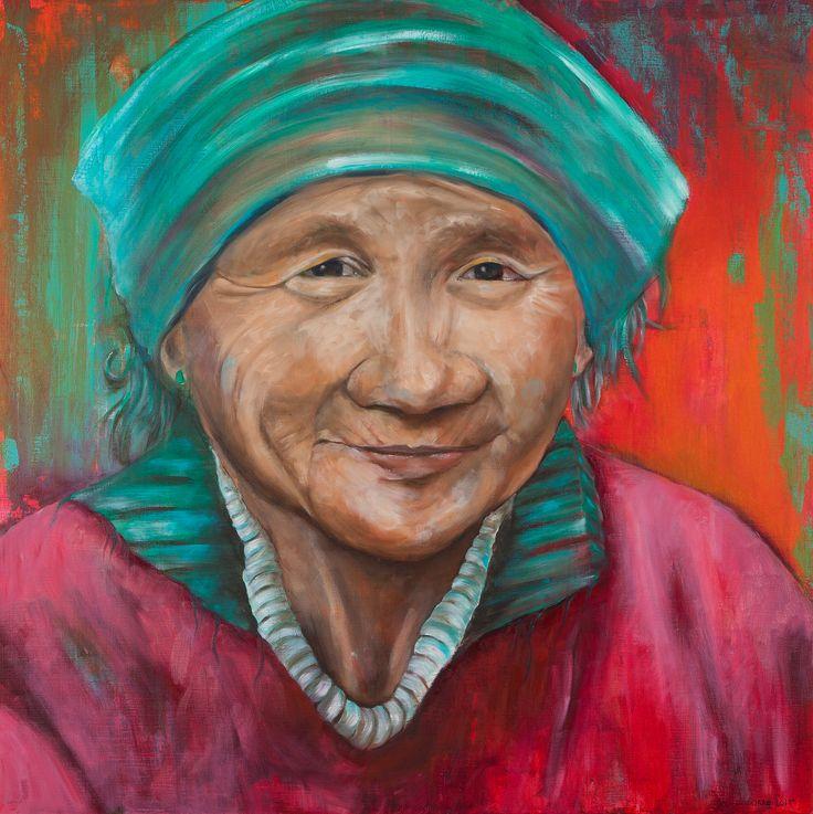 Portret, kleur, kunst schilderijen, kunstenares, vrolijk, portret, vrouw, gezicht, Olie en Acrylverf, - Conny Verschuuren- www.ateliermetverve.nl