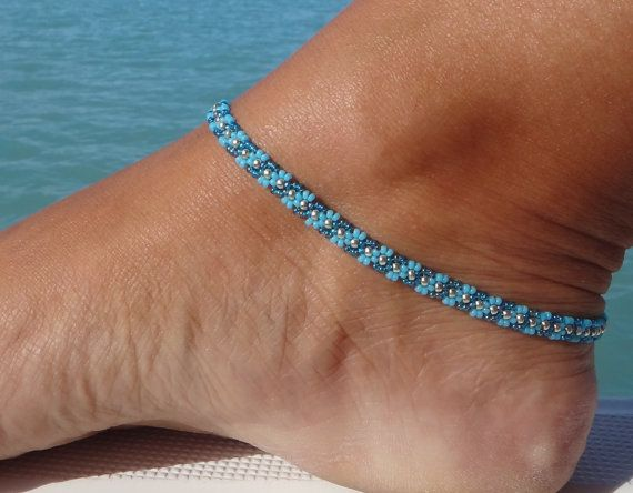 Turquoise Blue anklet Wave Daisy Chain Ankle by SimplyTheBead
