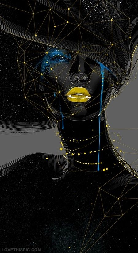 Digital Art Woman in Black art abstract black