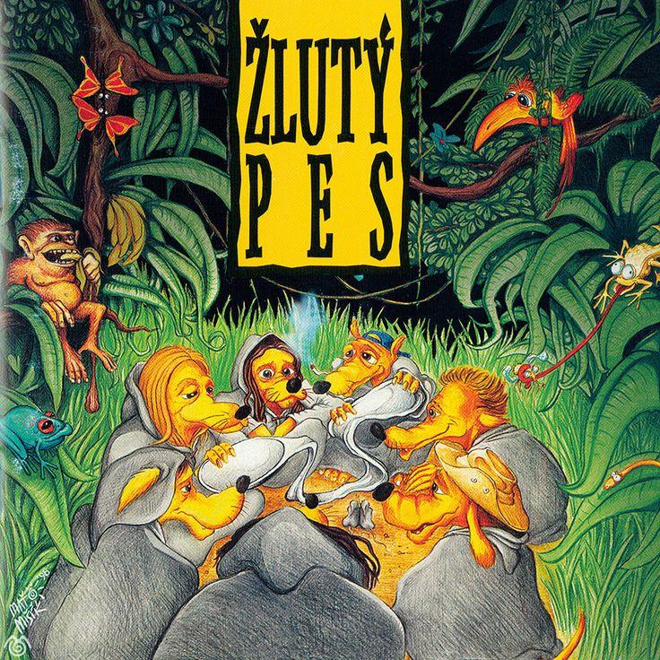 Album artwork by Maťo Mišík www.matomisik.com - Žlutý pes — Poslední lžíce   #cdcover #albumartwork #albumart #coverart #illustration #jungle #wood #dogs #yellow #spoon #monkey #bird #chameleon #frog