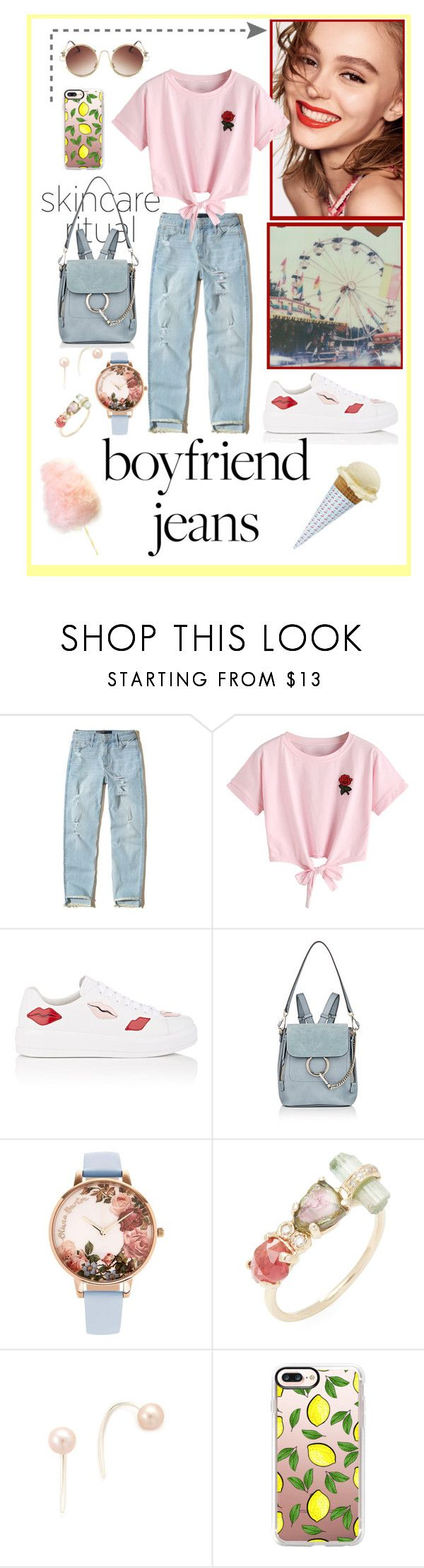 """""""Don't need a boyfriend to wear boyfriend jeans"""" by cupcakecouturegirls ❤ liked on Polyvore featuring Naomi Campbell, Polaroid, Hollister Co., WithChic, Prada, Chloé, Olivia Burton, Jacquie Aiche, Chan Luu and Casetify"""