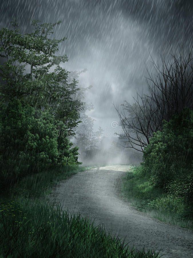 Rainy Landscape Dark Rainy Landscape With A Forest Road Spon Dark Landscape Rainy Road Forest Ad Paesaggi