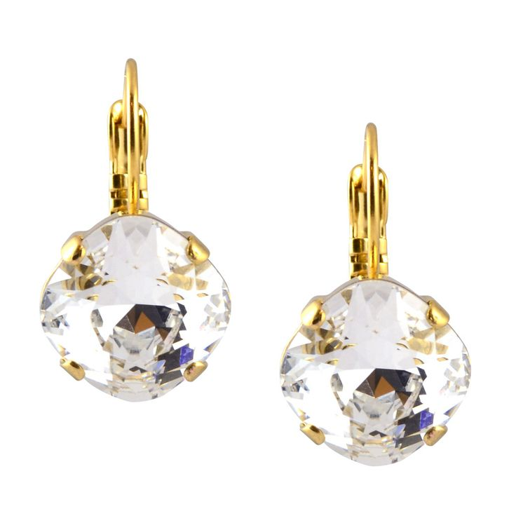 Victoria Lynn Dangle Earrings in Clear Swarovski Crystal, Gold Plated