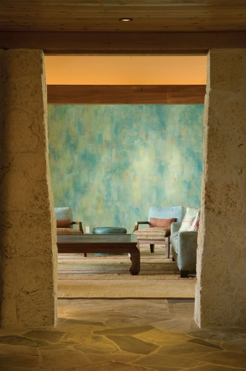 I like the blue wall and texture of the coloumns that - What finish of paint for living room ...