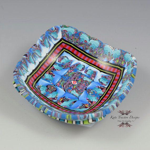 Polymeer klei Ring Bowl turkoois blauw rood door KateTractonDesigns