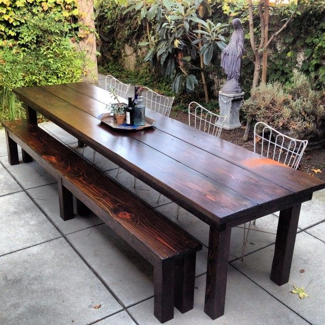 Simple Outdoor Dining Area With Rustic Outdoor Furniture Of Wooden Table  And Bench