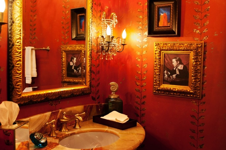 Luxe Powder Room Design With Gold Leaf Wallpaper. From 1 Of 3 Projects By  Berry