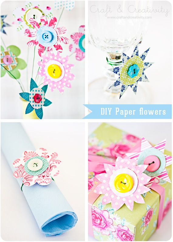 Paper Flowers: Paper Flower Crafts, Crafts Ideas, Paper Flower Tutorials, Buttons Crafts, Homemade Flower, Paper Scrap, Handmade Flower, Buttons Flower, Diy Paper
