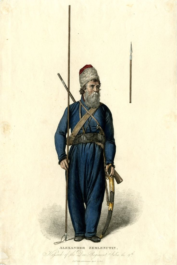 Kossack of the Don Regiment, Sulin the 9th. Full-length portrait of Cossack standing, looking to the right, spear in one hand of which top represented on the right, sword in the other hand, musket on back, with large beard and hat. 1813 Hand-coloured etching. Published by: AckermannPrint made by: Andrea Freschi (British Museum)