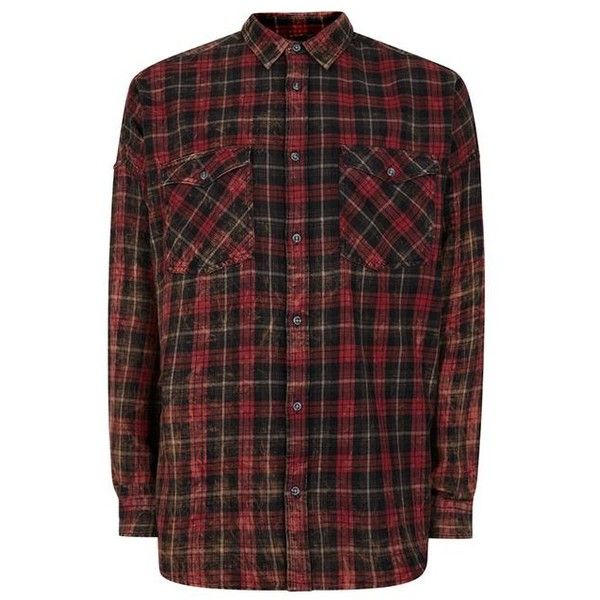 TOPMAN Red Check Bleached Relaxed Fit Casual Shirt (7.695 CLP) ❤ liked on Polyvore featuring men's fashion, men's clothing, men's shirts, men's casual shirts, mens red checked shirt, mens red checkered shirt, mens checkered shirts, mens cotton shirts and mens checked shirts